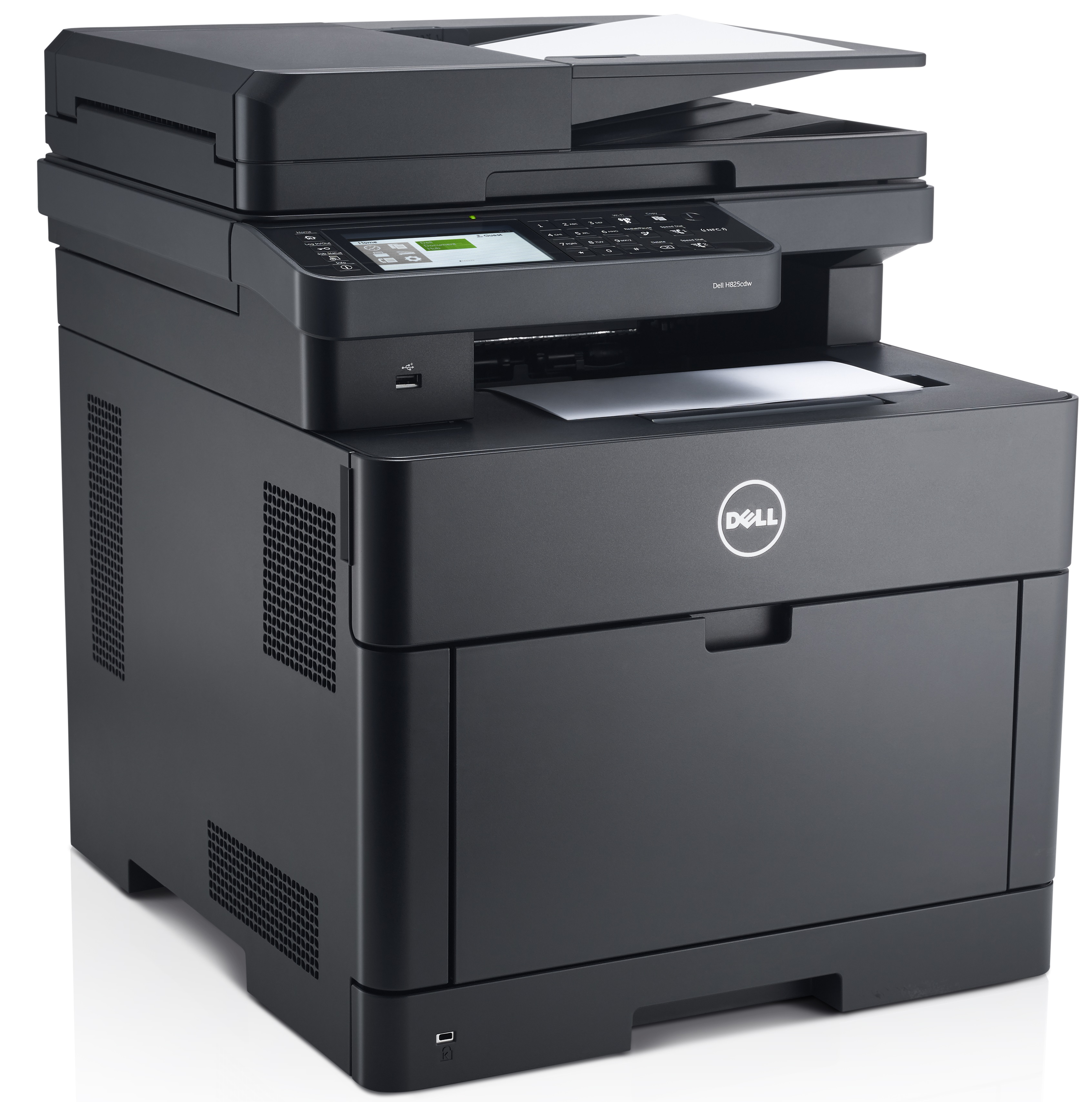 Dell H825cdw (Goshawk Cloud) multi-function printer, scanner, copier shown with paper sheets in the printer and copier trays.